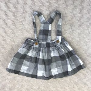 Carter's Gray Plaid Suspender Skirt Overalls 3M